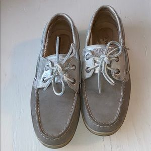 Silver Sperry Shoes